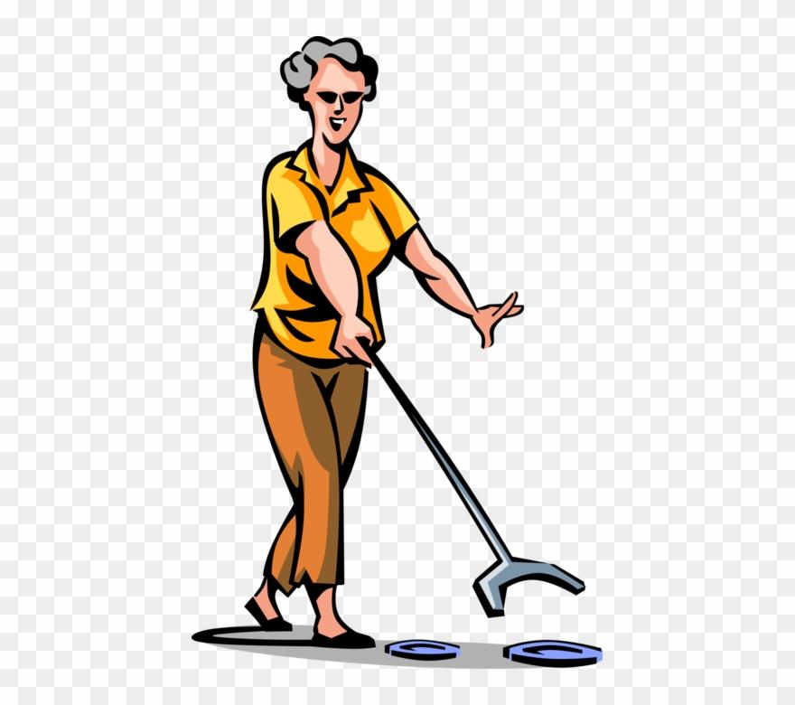 Senior Citizen Plays Shuffleboard.