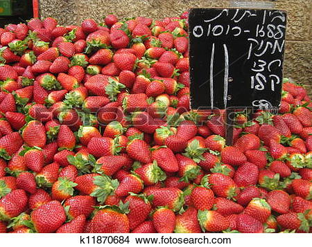 Stock Photo of Strawberries from the Shuk k11870684.