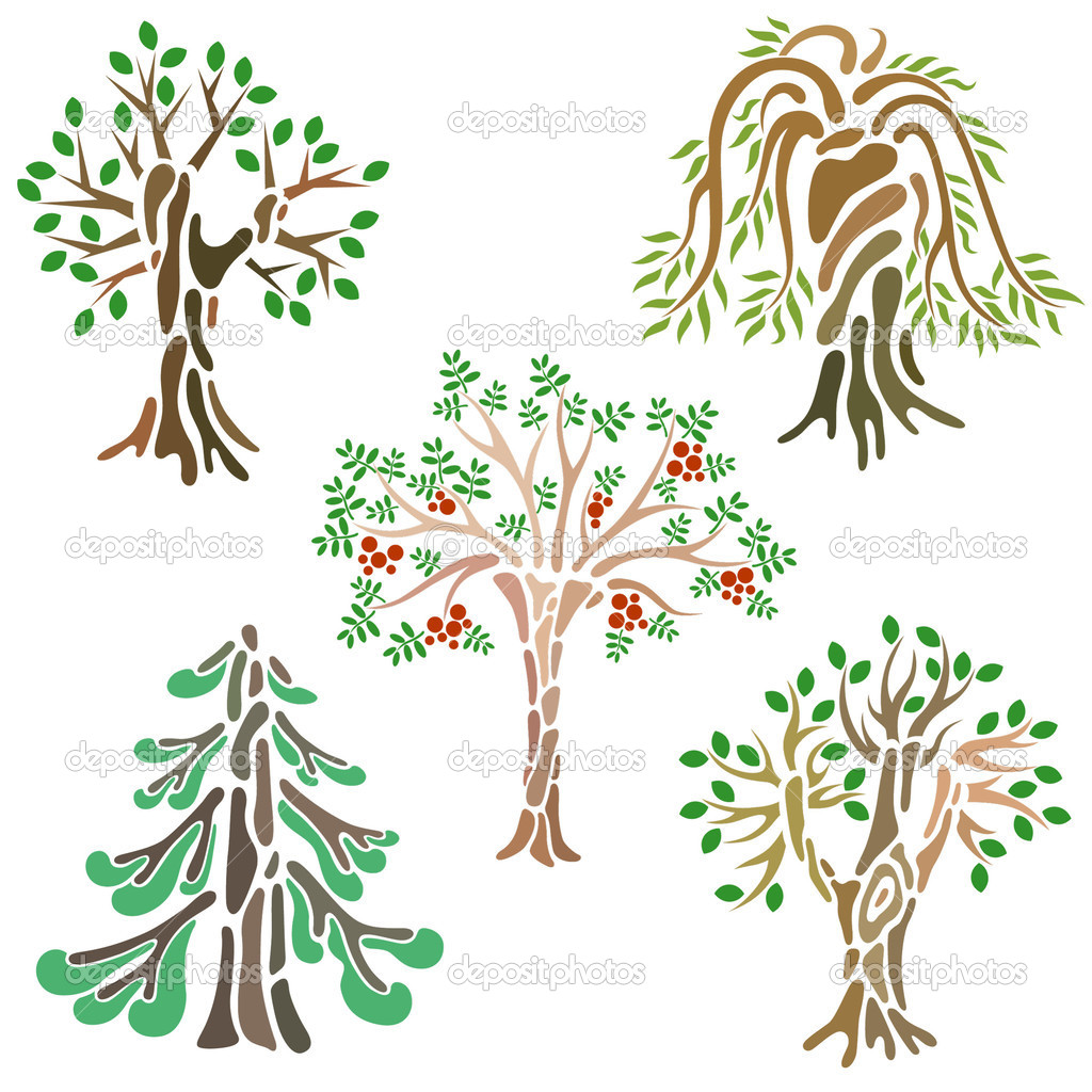 Different kinds of trees — Stock Vector © Ksena.