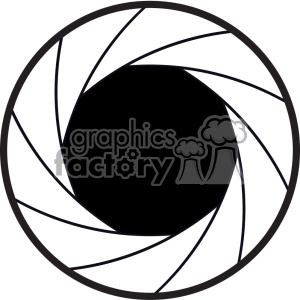 vector black and white camera shutter icon clipart. Royalty.