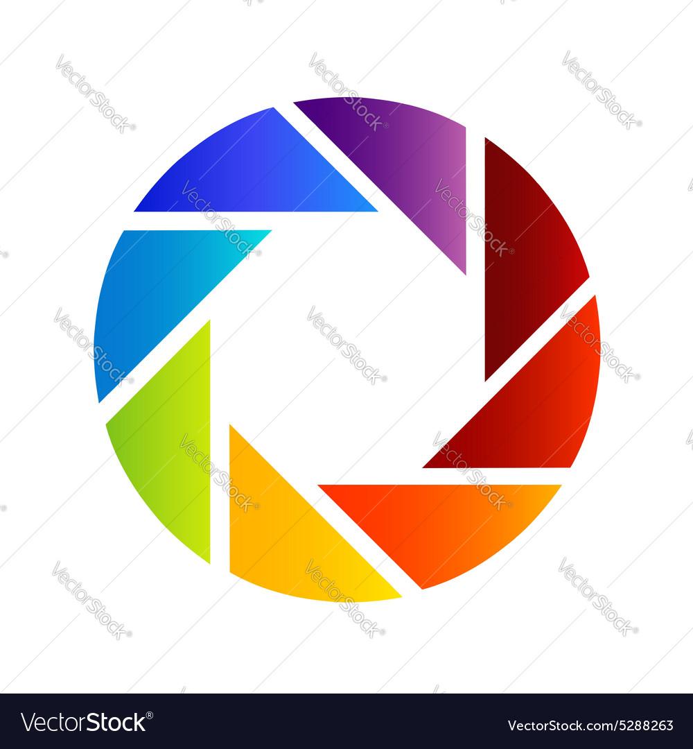 Rainbow colored photography shutter logo.