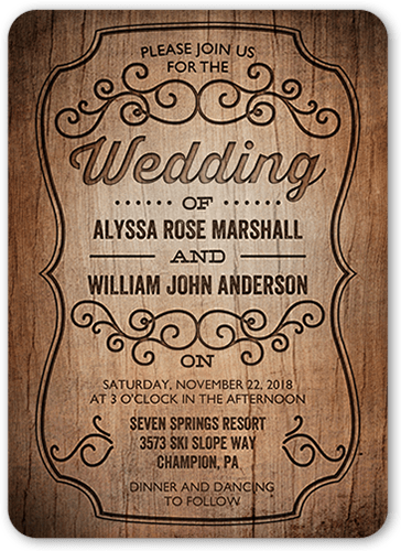Rustic Romance 5x7 Wedding Invitations.
