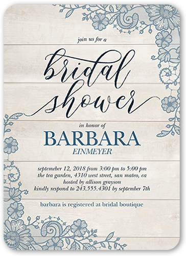 Lovely Lace Frame 5x7 Bridal Shower Invitations.
