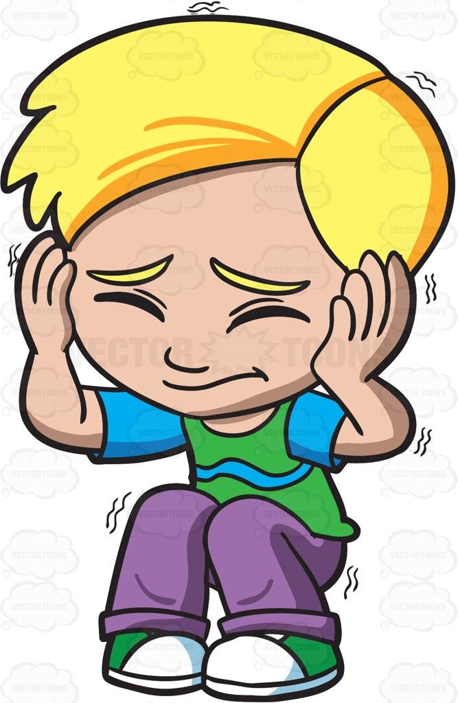 A Scared Boy Shutting His Eyes And Ears Cartoon Clipart.