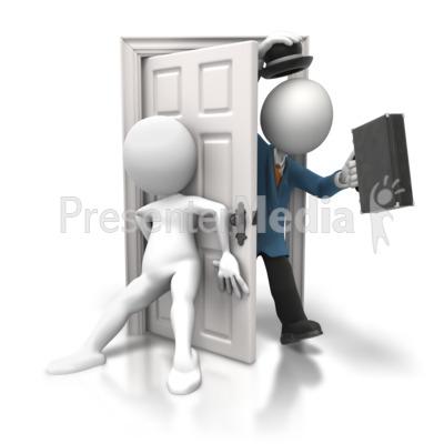 Shutting Door on Salesman.