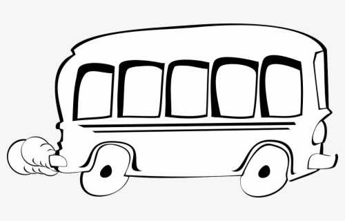 Free School Bus Black And White Clip Art with No Background.