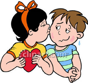 A Girl Kissing a Shy Boy on Valentines Day Royalty Free.