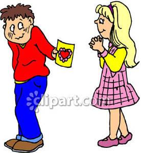 Shy Boy Giving a Girl a Valentine.