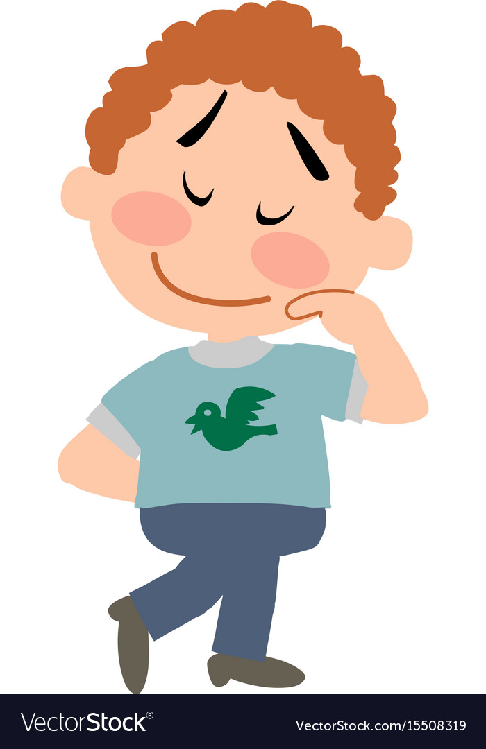 Cartoon character boy shy.