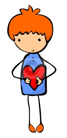 Boy with heart stock vector.