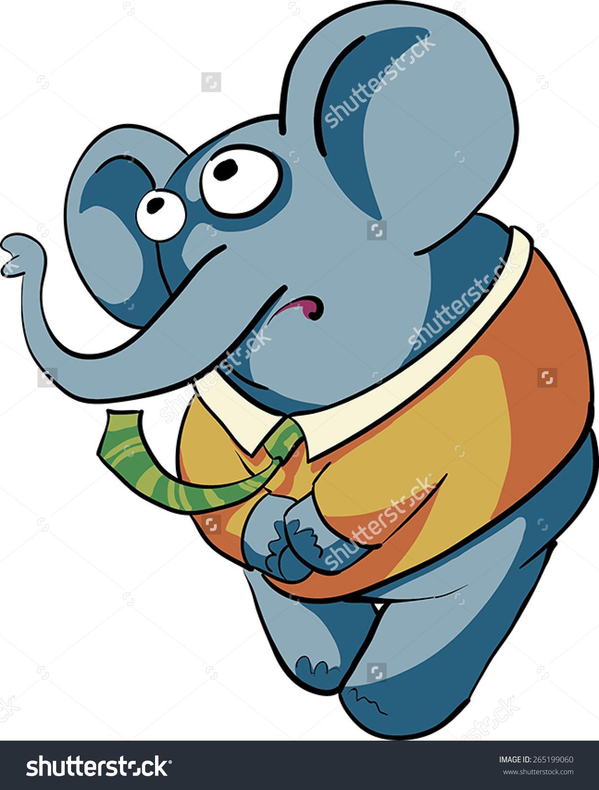 Shy Boy Elephant Stock Vector 265199060.