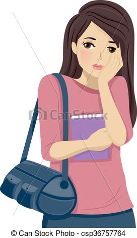 Clip Art Vector of Teen Girl Shy Blush.