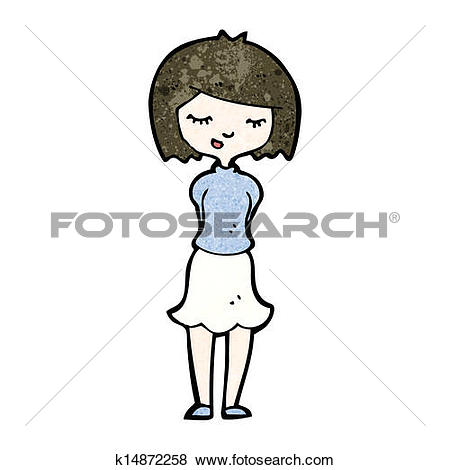 Clip Art of cartoon shy woman k14872258.