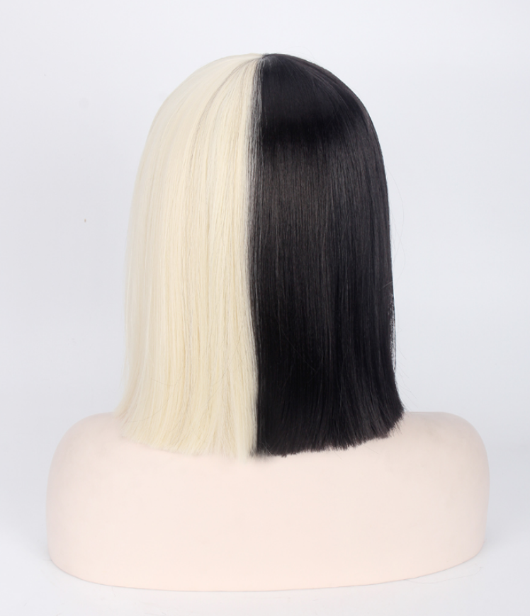 Black Blonde Short Straight Sia Cosplay Party Wigs from Violetlace Boutique.
