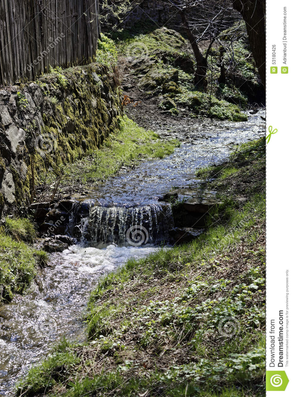 Small Creek Along The Fence In Sibiel Romania Stock Photo.