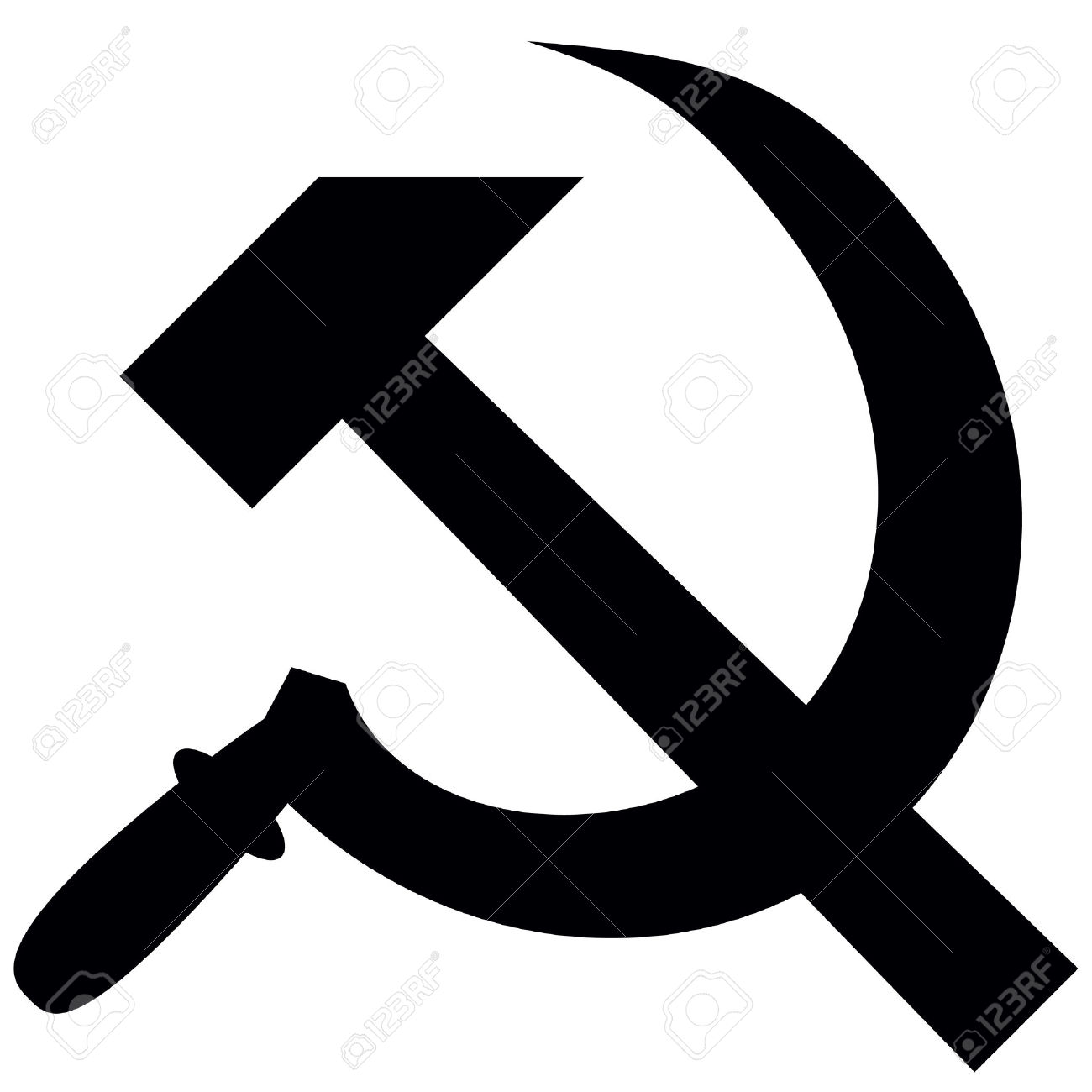 Hammer And Sickle Isolated On White Background, Vector.