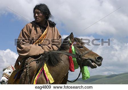 Stock Photograph of Khampas, the warrior horseman of old Tibet.