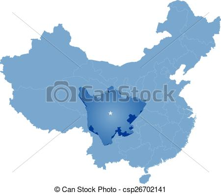 EPS Vector of Map of People's Republic of China.