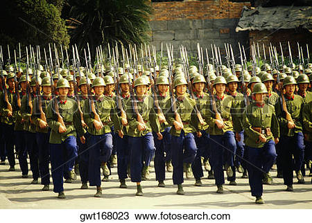 Stock Photo of Army soldiers marching in a parade, Chengdu.