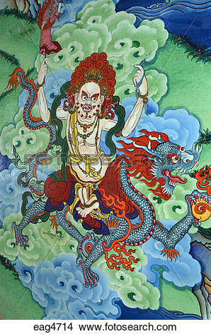 Stock Photo of Mural of dragon riding protector at the entrance to.