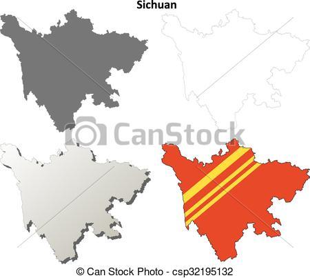 Vectors of Sichuan blank outline map set.