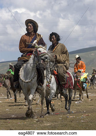Picture of Khampas, the warrior horseman of old Tibet, compete at.