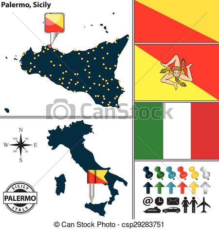 Clipart Vector of Map of Sicily, Italy.