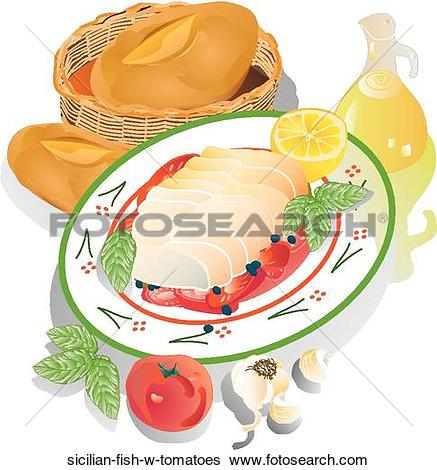 Stock Illustration of Sicilian Fish w. Tomatoes sicilian.