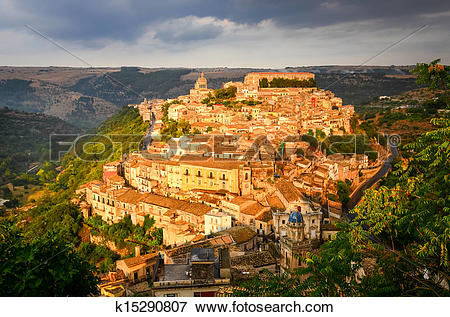 Picture of View of beautiful village Ragusa at sunset, Sicily.