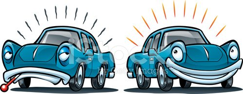 Sick Car, Healthy Vehicle Clipart Image.