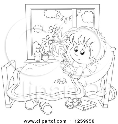 Clipart of a Sick Blond Boy with a Thermometer Under His Arm in.