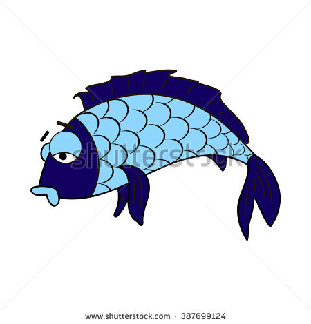 Cartoon Illustration Sick Fish Stock Vector 387699124.