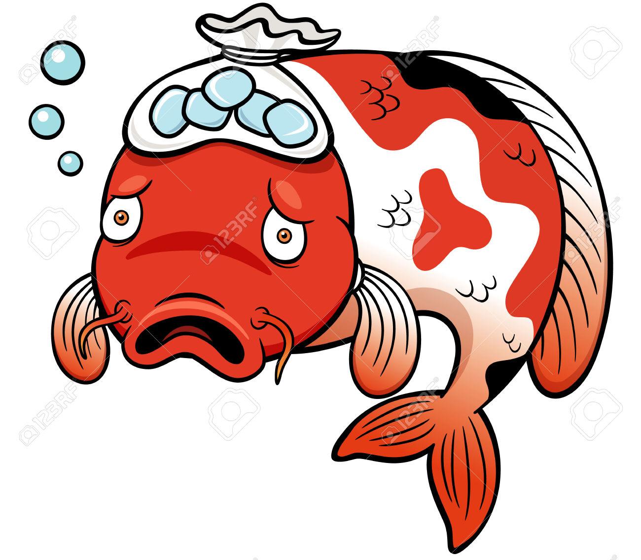 Vector Illustration Of Fish Sick Cartoon Royalty Free Cliparts.