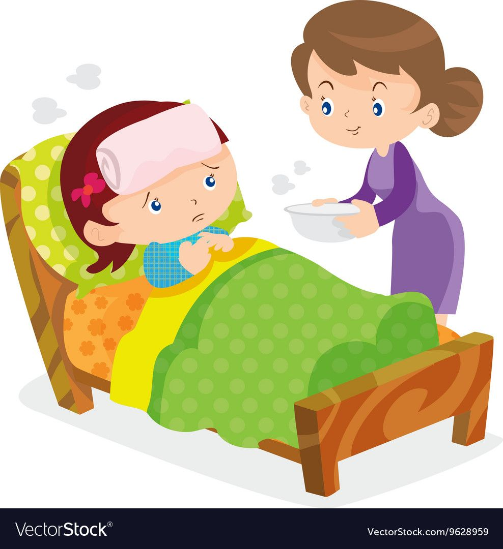 Mother take care sick girls Royalty Free Vector Image.