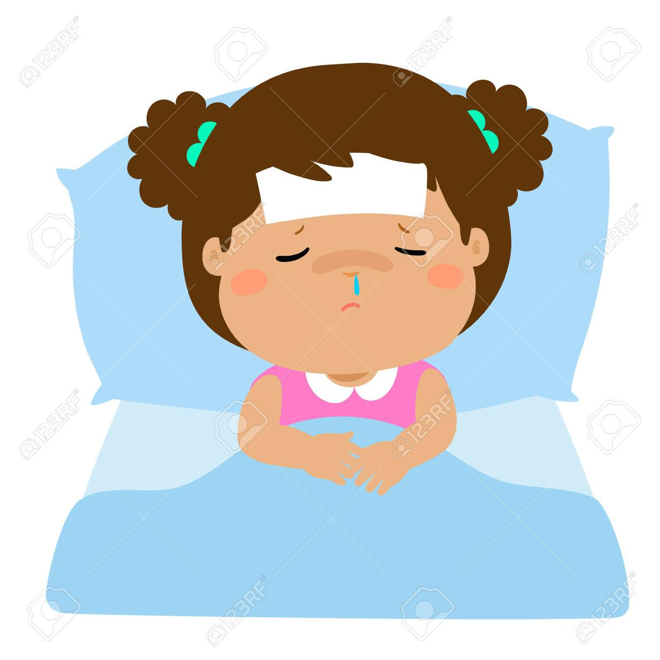 Little sick girl sleep in bed vector. » Clipart Station.