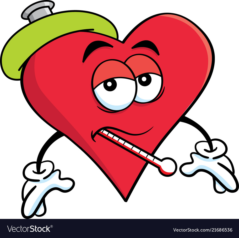 Cartoon sick heart with a thermometer.