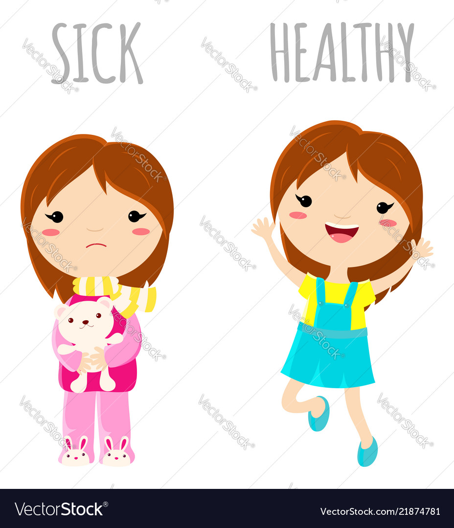 Sick sad little girl and cheerful healthy jumping.