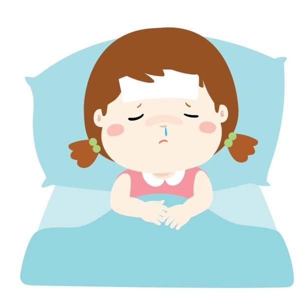 Sick Little Girl Clipart.