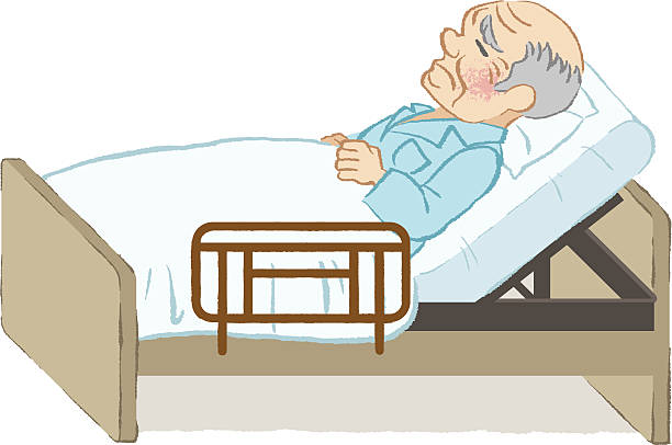 Old Man In Bed Clipart.