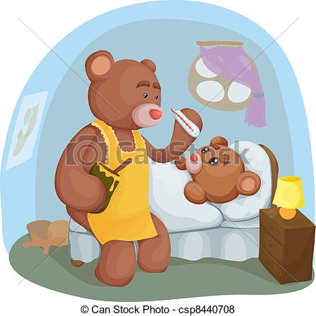 Vector of Sick teddy bear with her mother.