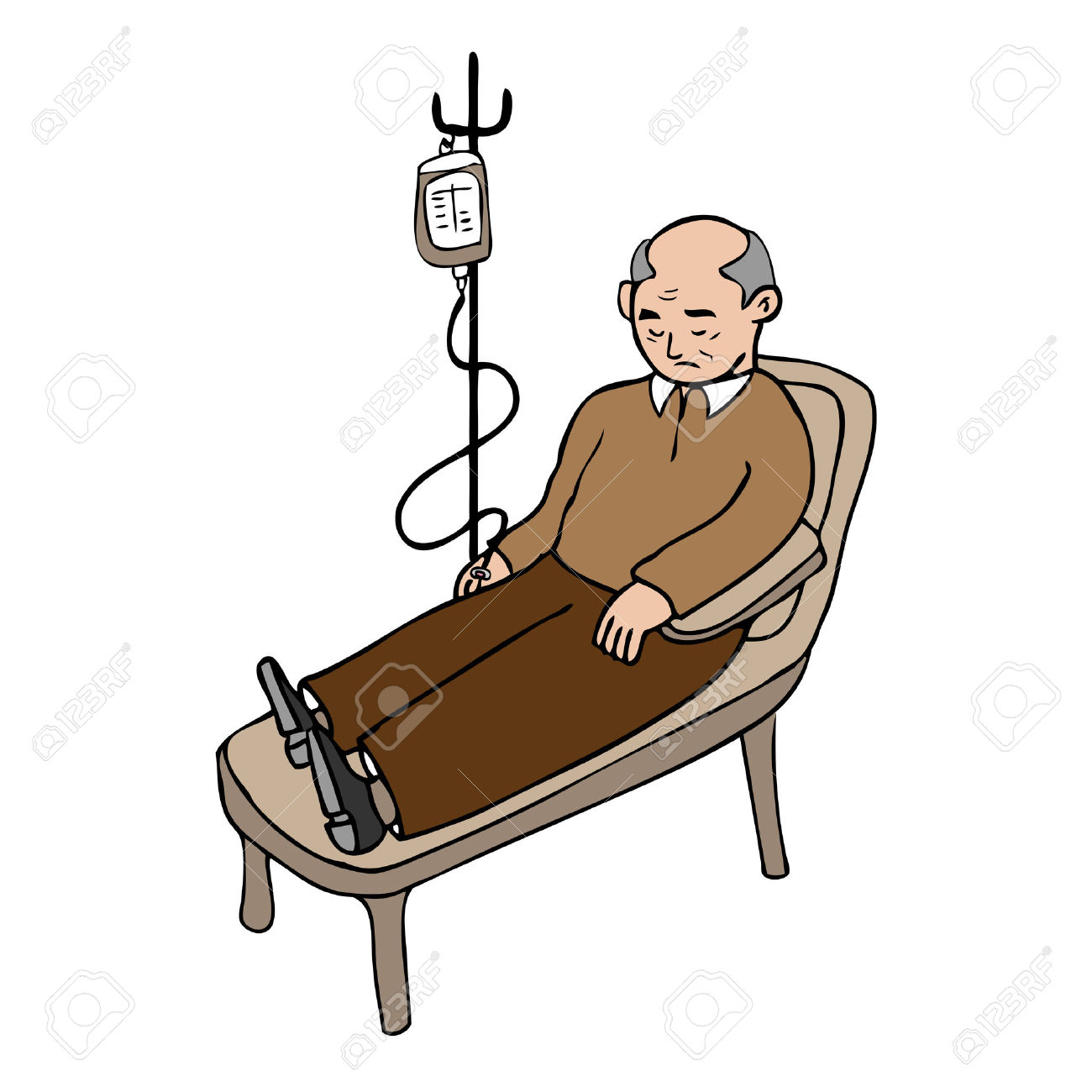 Old Man Treated Infusion Cartoon Vector Royalty Free Cliparts.