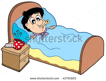 Sick Man In Bed Clipart.