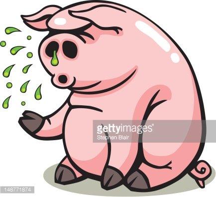 Swine Flu Sick Pig Clipart Image.