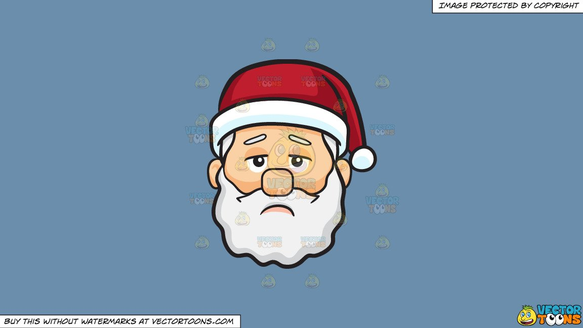 Clipart: A Lonely And Depressed Face Of Santa Claus on a Solid Shadow Blue  6C8Ead Background.