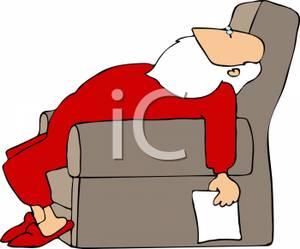 Cartoon of a Santa Sleeping In a Chair Holding His Christmas.