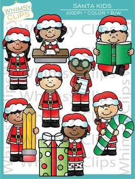 Santa Kids Christmas Clip Art.