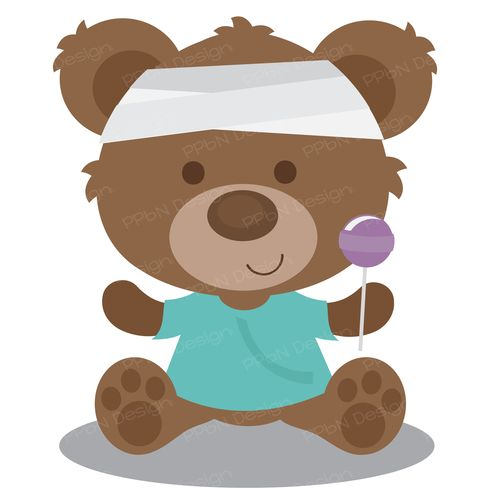 Sick bear in hospital scrubs and head bandage with popsicle.