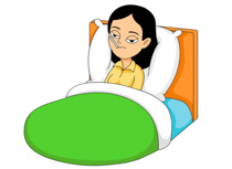 Sick woman in bed clipart.