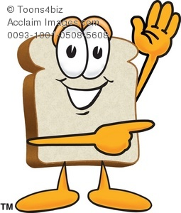 Clipart Cartoon Bread Slice Pointing To the Side.