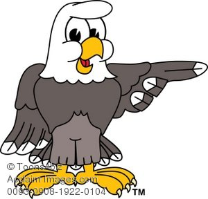 Clip Art Illustration of Bald Eagle Pointing to the Side.